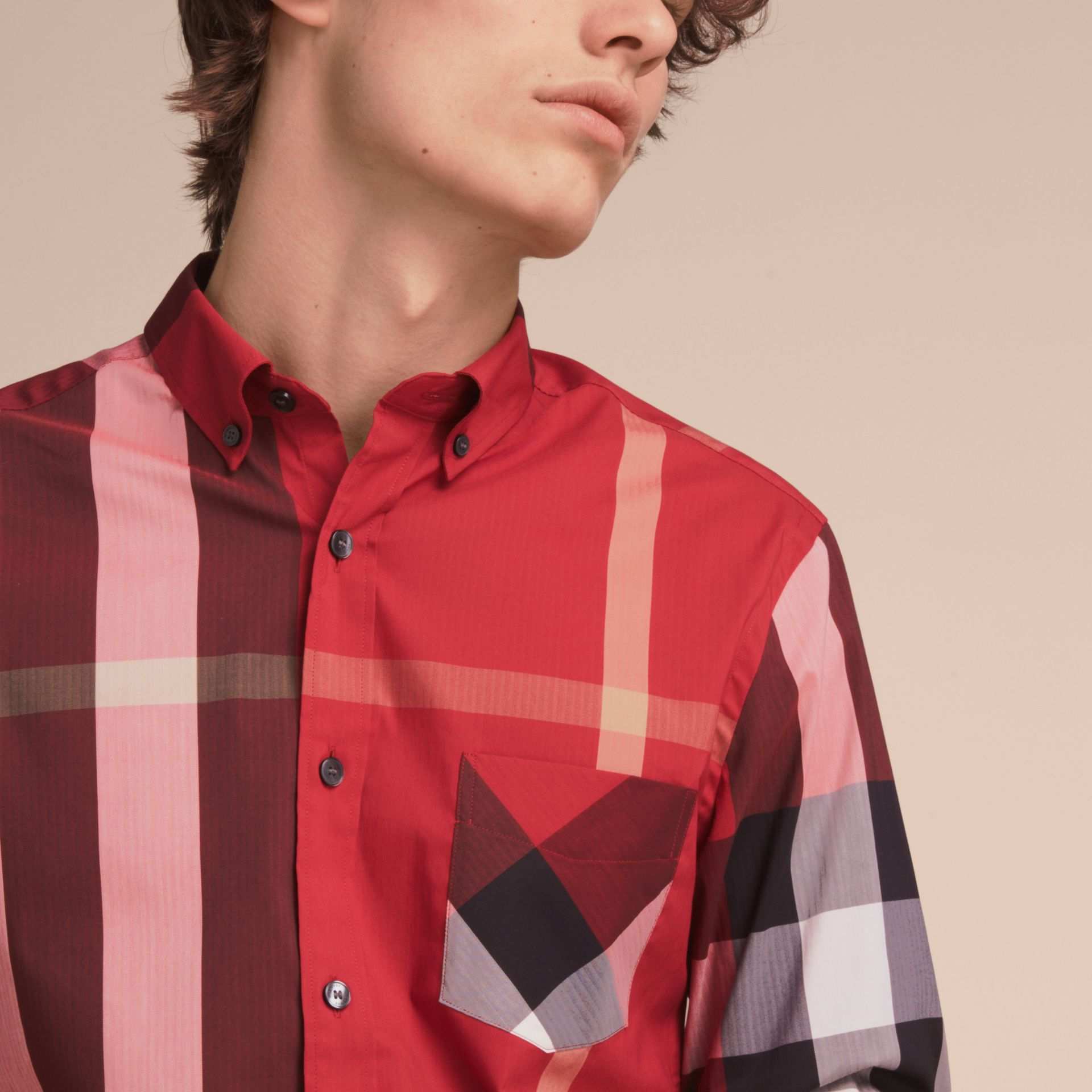 Button-down Collar Check Stretch Cotton Blend Shirt in Parade Red - Men | Burberry - gallery image 5