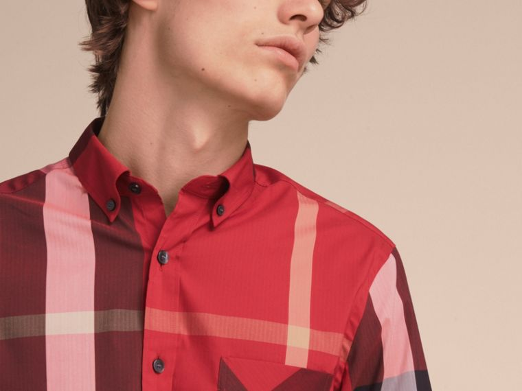 Button-down Collar Check Stretch Cotton Blend Shirt in Parade Red - Men | Burberry Australia - cell image 4