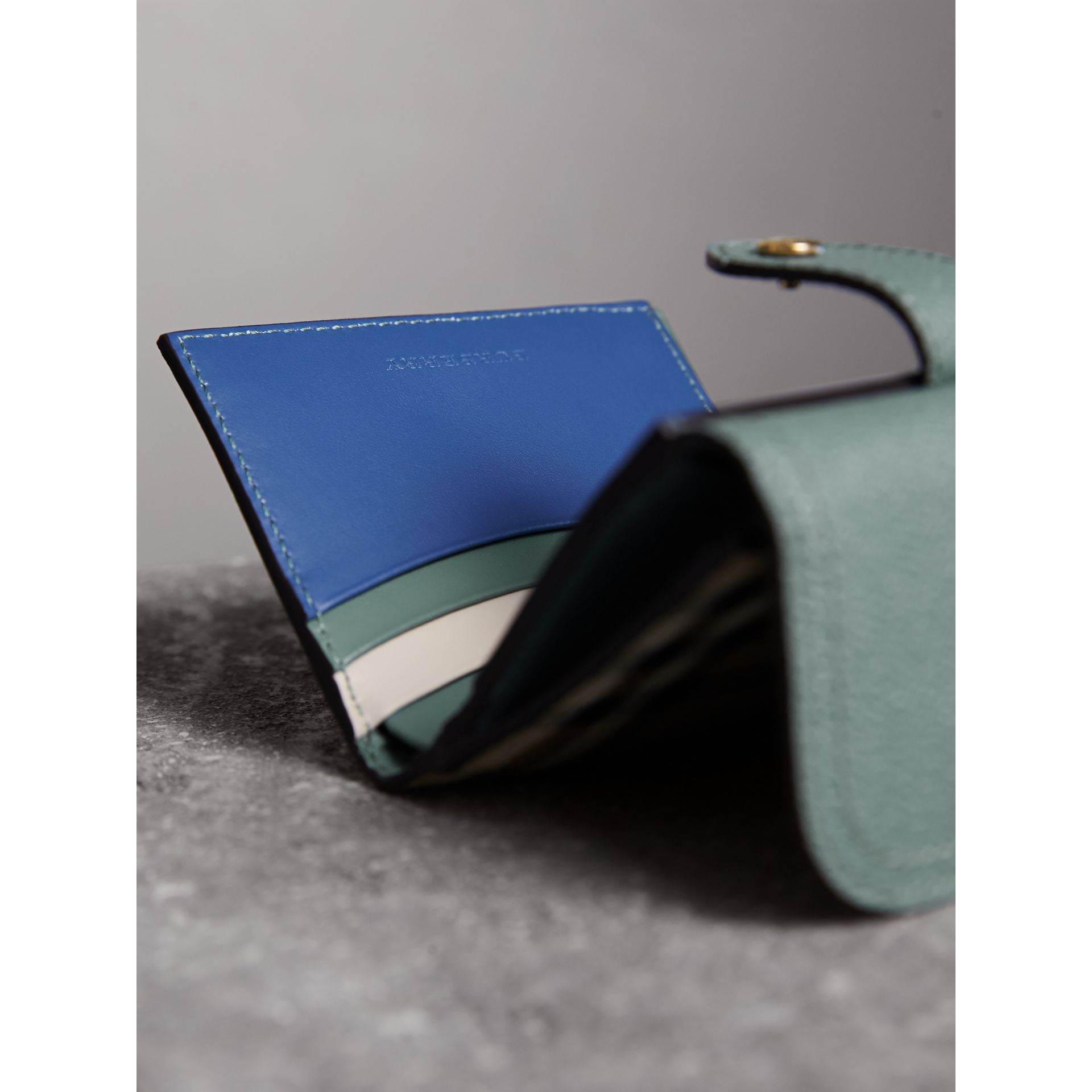 Leather and Haymarket Check Wallet in Eucalyptus Green/multicolour - Women | Burberry - gallery image 4
