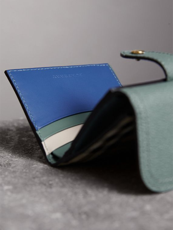 Leather and Haymarket Check Wallet in Eucalyptus Green/multicolour - Women | Burberry - cell image 3