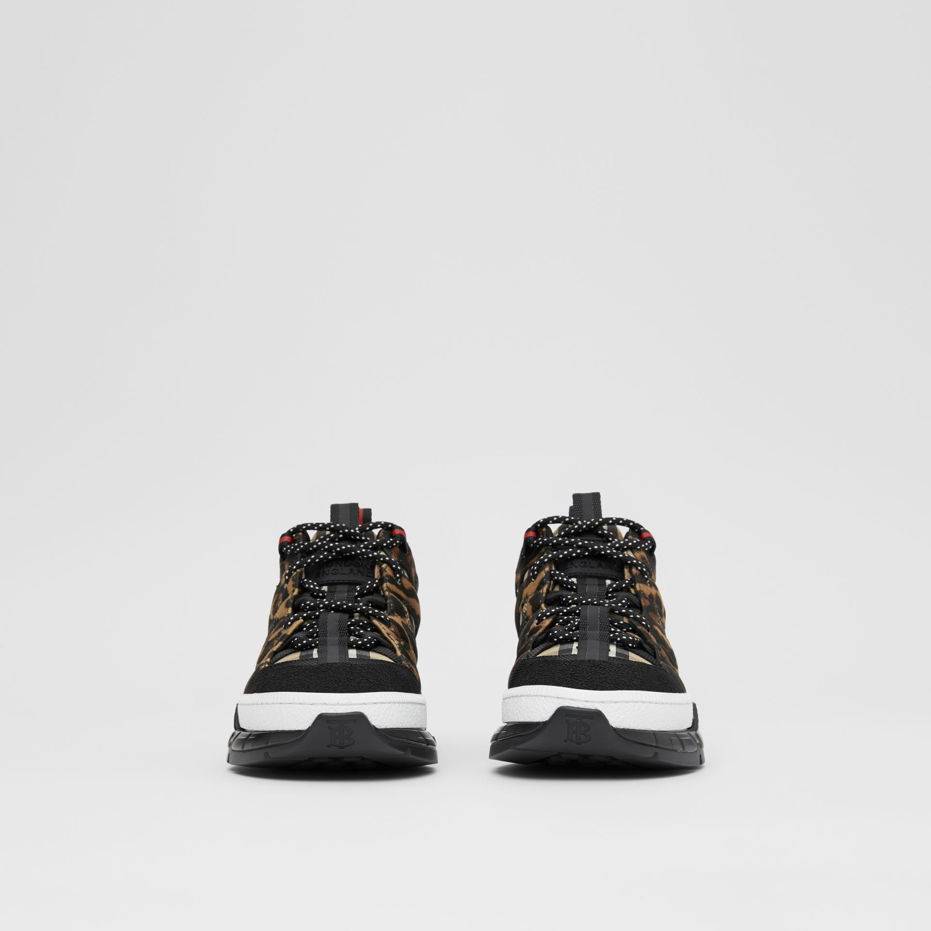 Leopard Print Neoprene and Cotton Union Sneakers in Archive Beige - Women | Burberry Canada - gallery image 3