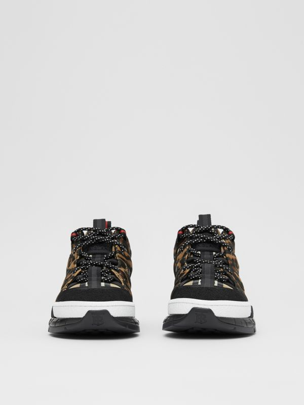 Leopard Print Neoprene and Cotton Union Sneakers in Archive Beige - Women | Burberry - cell image 3