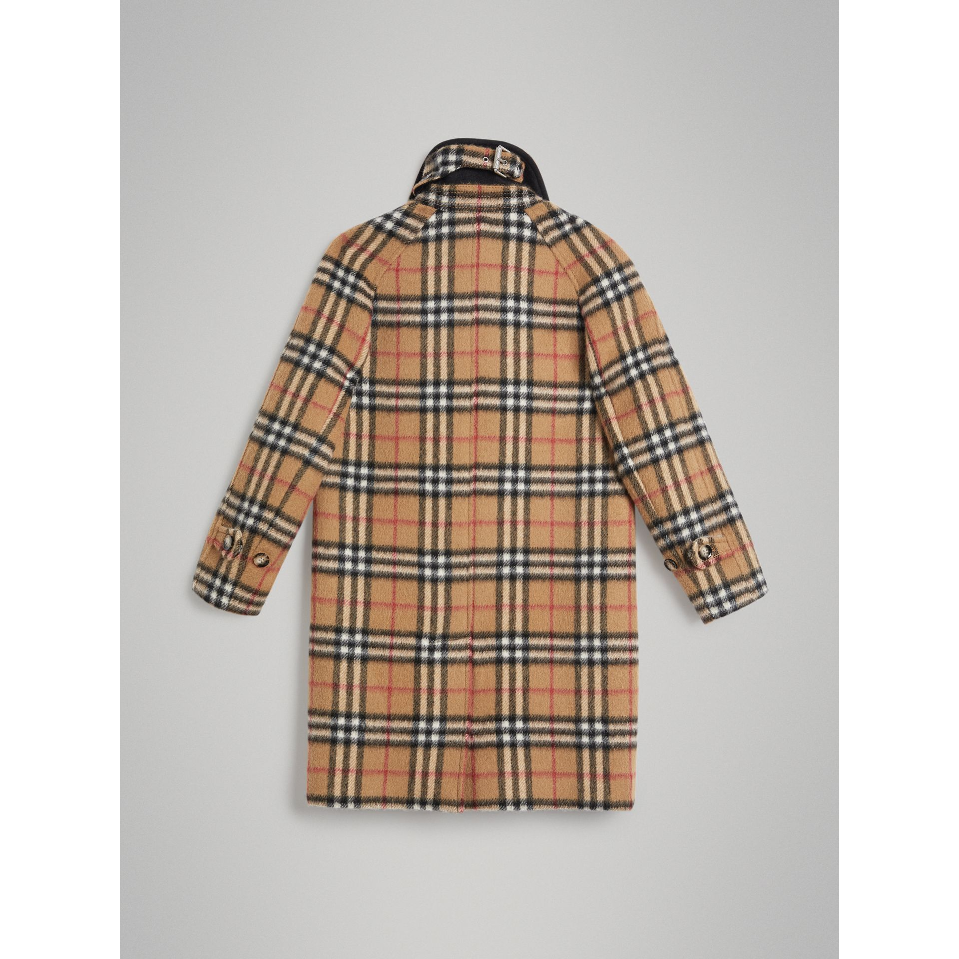 Vintage Check Alpaca Wool Blend Car Coat in Antique Yellow - Girl | Burberry - gallery image 3