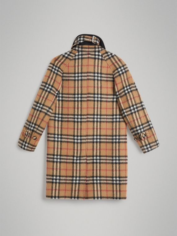 Vintage Check Alpaca Wool Blend Car Coat in Antique Yellow - Girl | Burberry - cell image 3