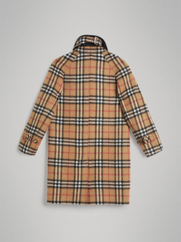 Vintage Check Alpaca Wool Blend Car Coat in Antique Yellow | Burberry - cell image 3