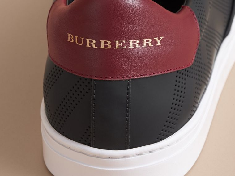 Perforated Check Leather Slip-on Trainers in Black/deep Claret Melange - Men | Burberry - cell image 1