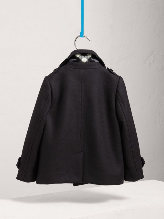 Wool Cashmere Pea Coat with Down-filled Gilet in Navy - Boy | Burberry United Kingdom - cell image 3