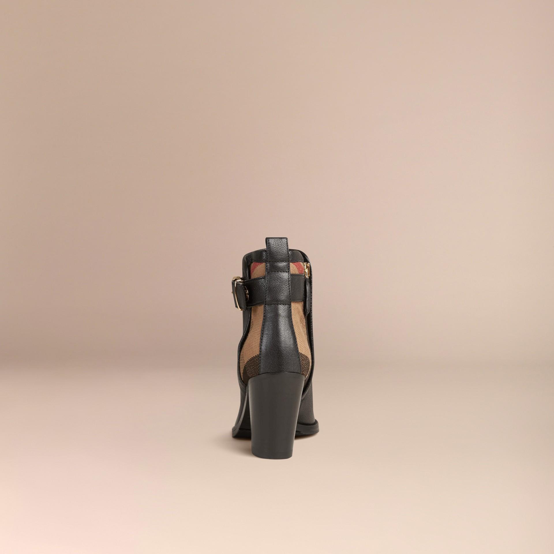 Preto Botas de cano curto de couro com padrão xadrez - galeria de imagens 4