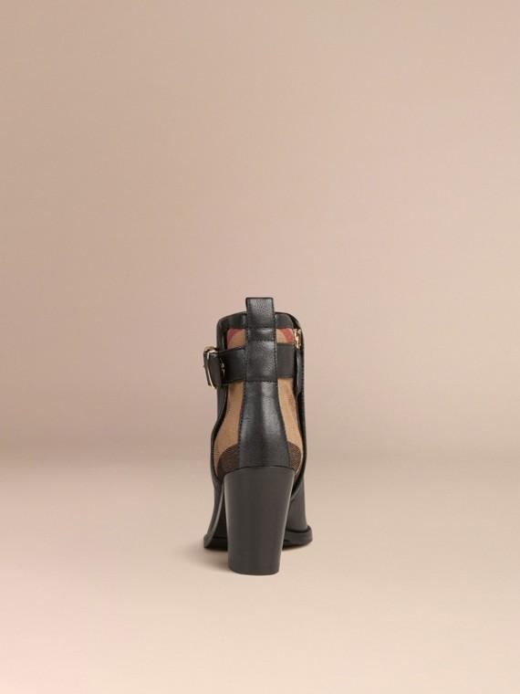 Preto Botas de cano curto de couro com padrão xadrez - cell image 3