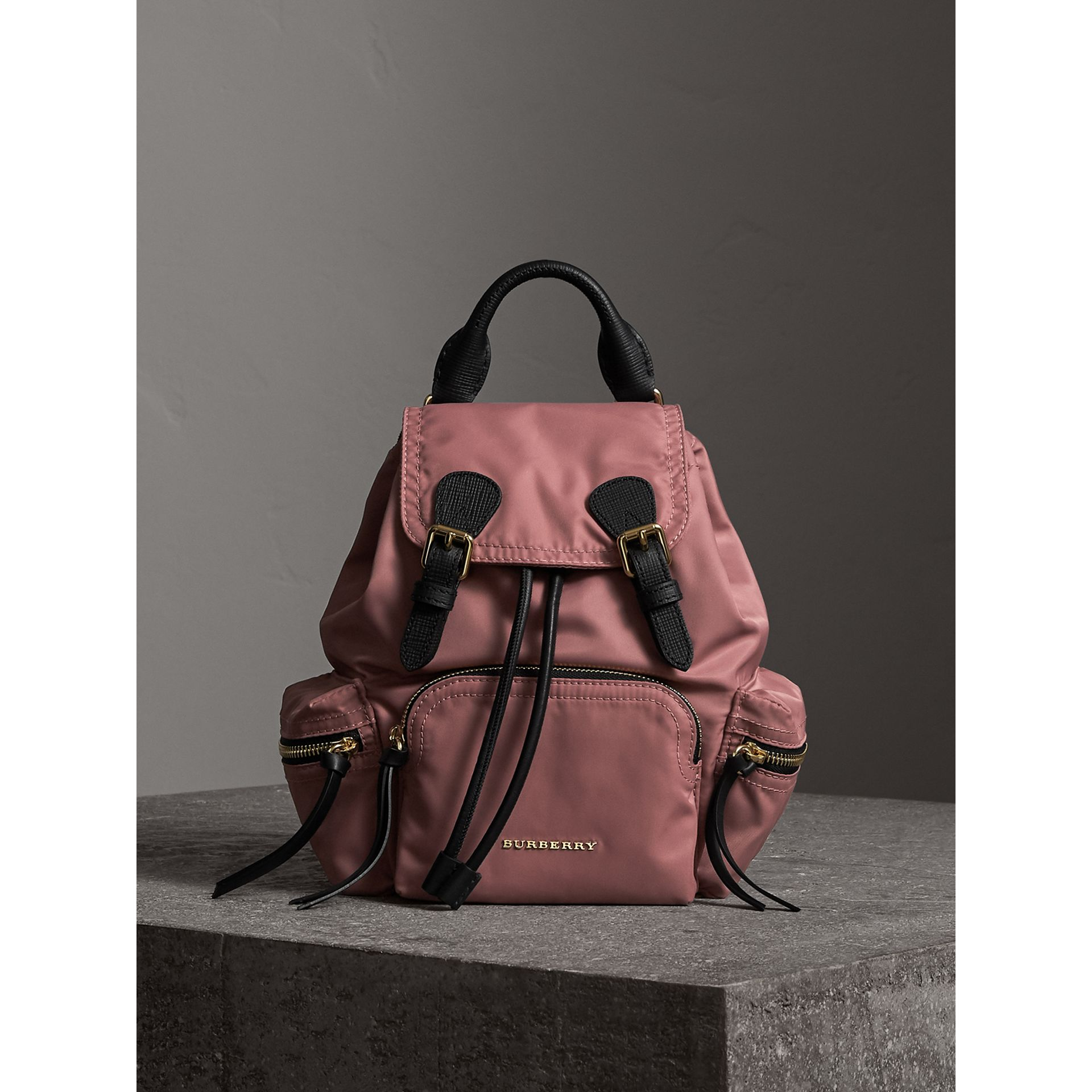 The Small Rucksack in Technical Nylon and Leather in Mauve Pink - Women | Burberry - gallery image 5