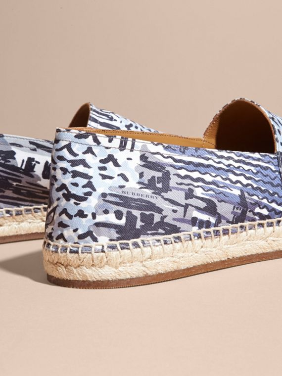 British Seaside Print Cotton Espadrilles Steel Blue - cell image 3
