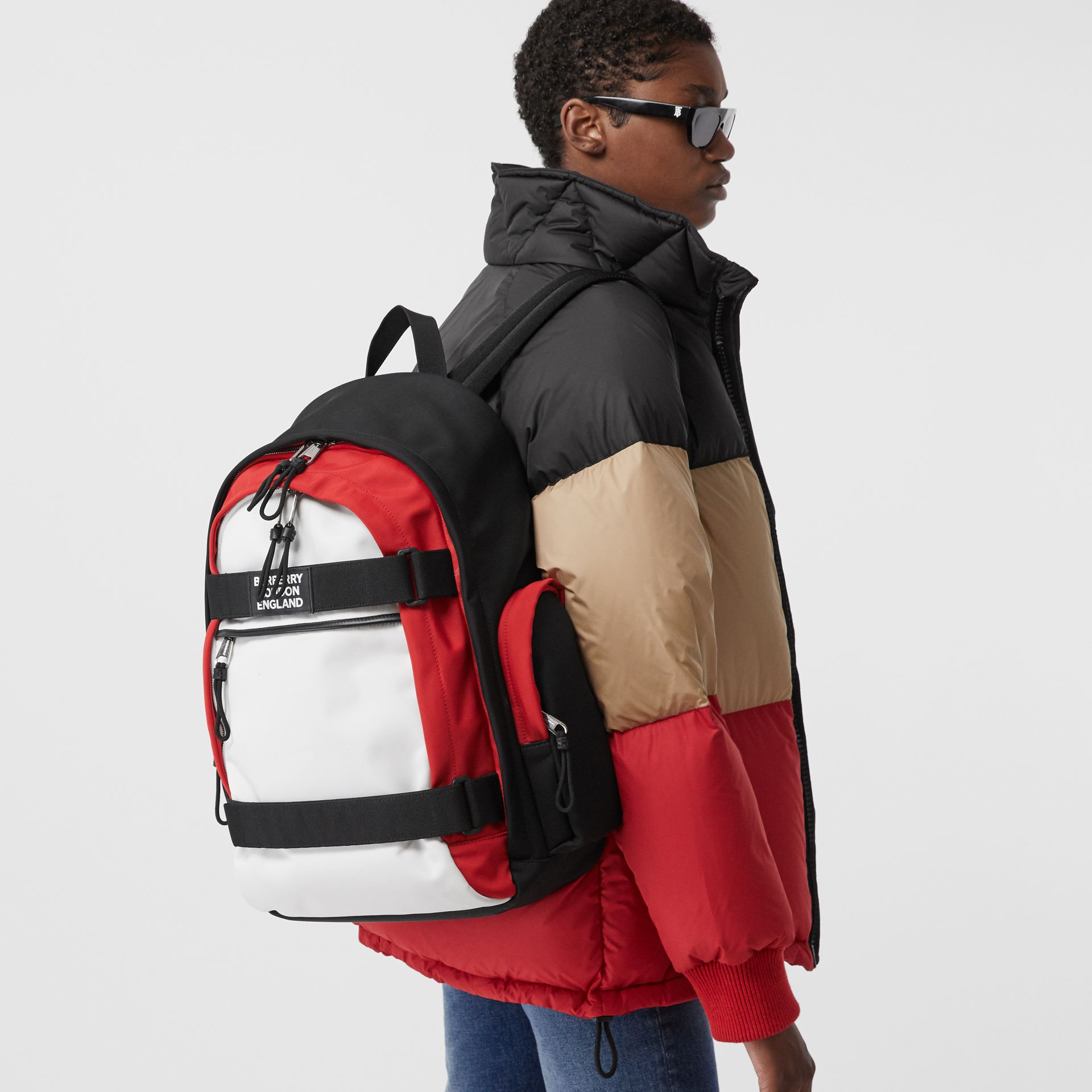 Large Colour Block Nevis Backpack in White/red/black | Burberry - gallery image 2