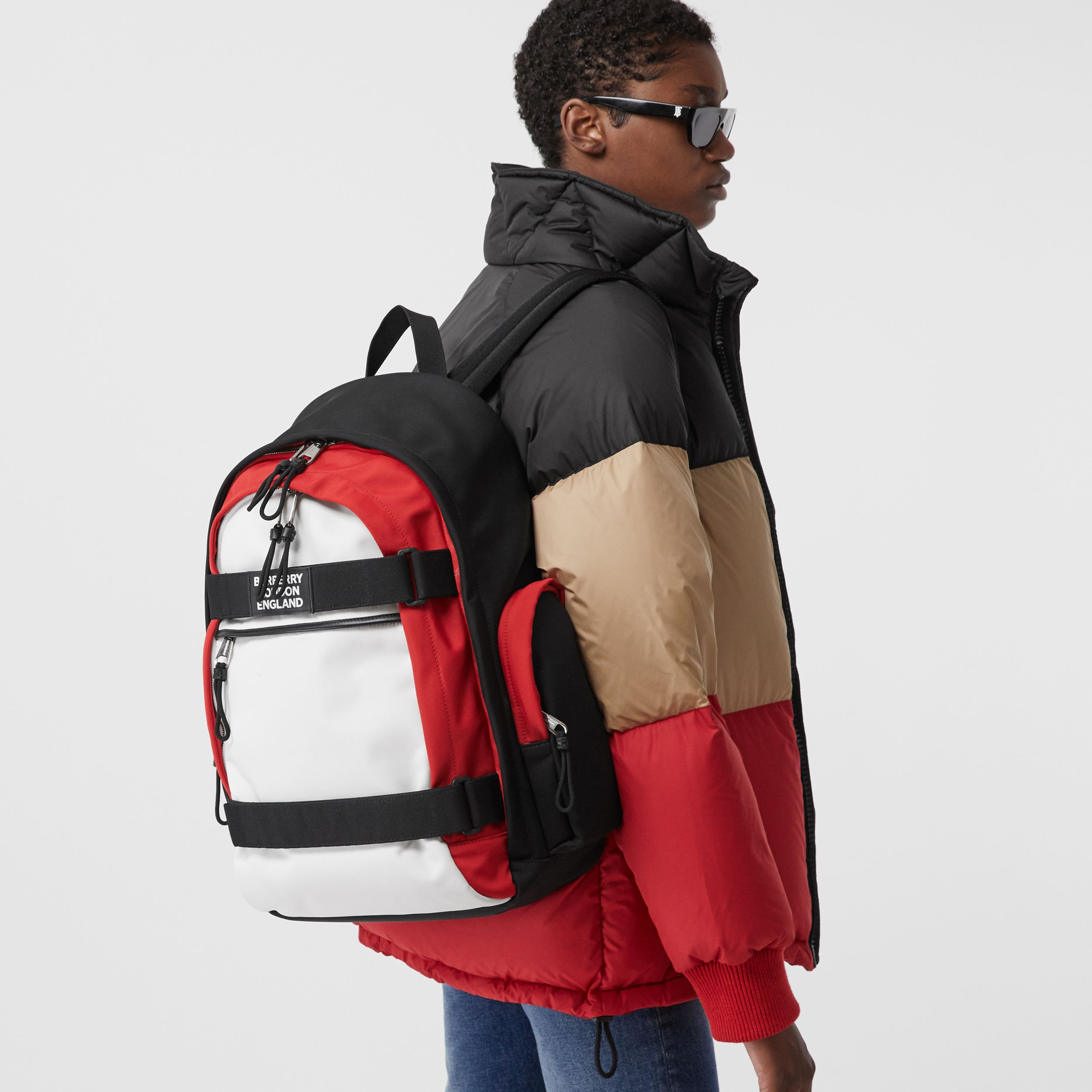 Large Colour Block Nevis Backpack in White/red/black | Burberry - 2