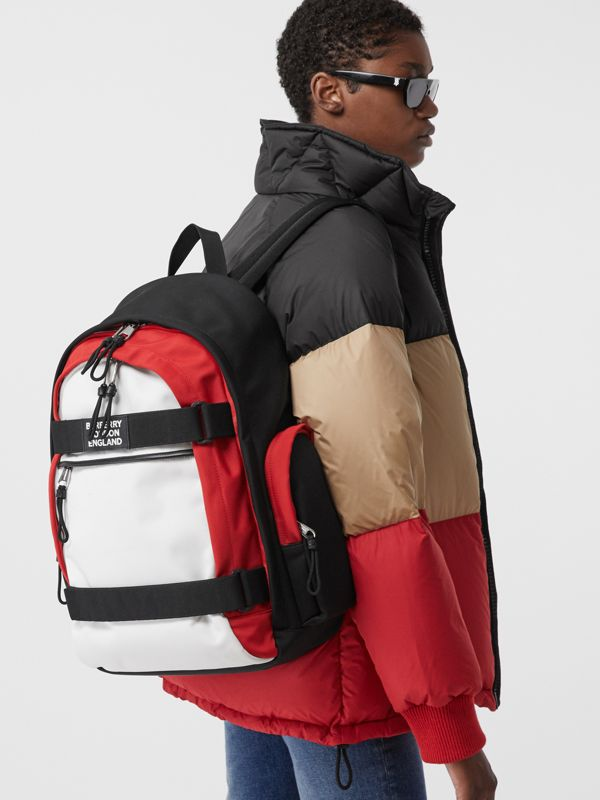 Large Colour Block Nevis Backpack in White/red/black | Burberry - cell image 2