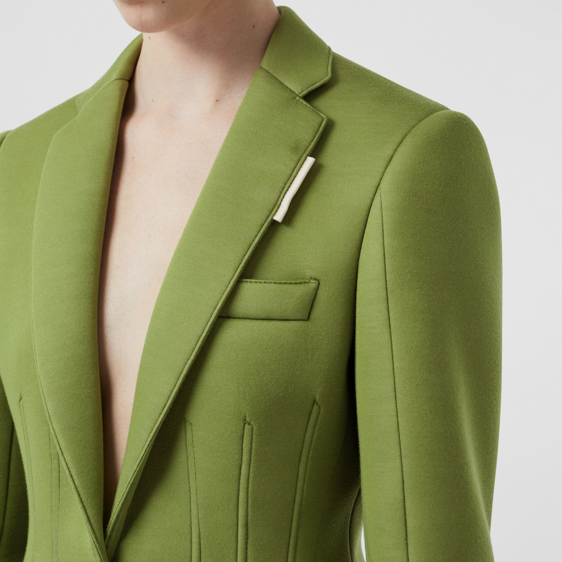 Double-faced Neoprene Tailored Jacket in Cedar Green - Women | Burberry - gallery image 5