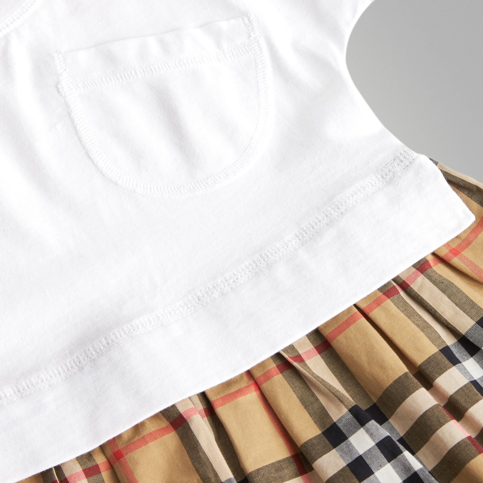 Vintage Check Cotton Dress with Bloomers in White - Children | Burberry - gallery image 1