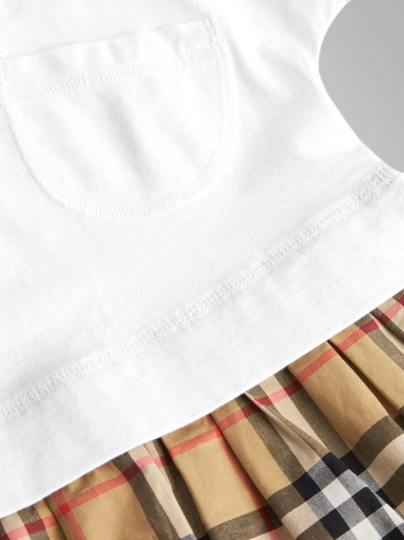 Vintage Check Cotton Dress with Bloomers in White - Children | Burberry - cell image 1