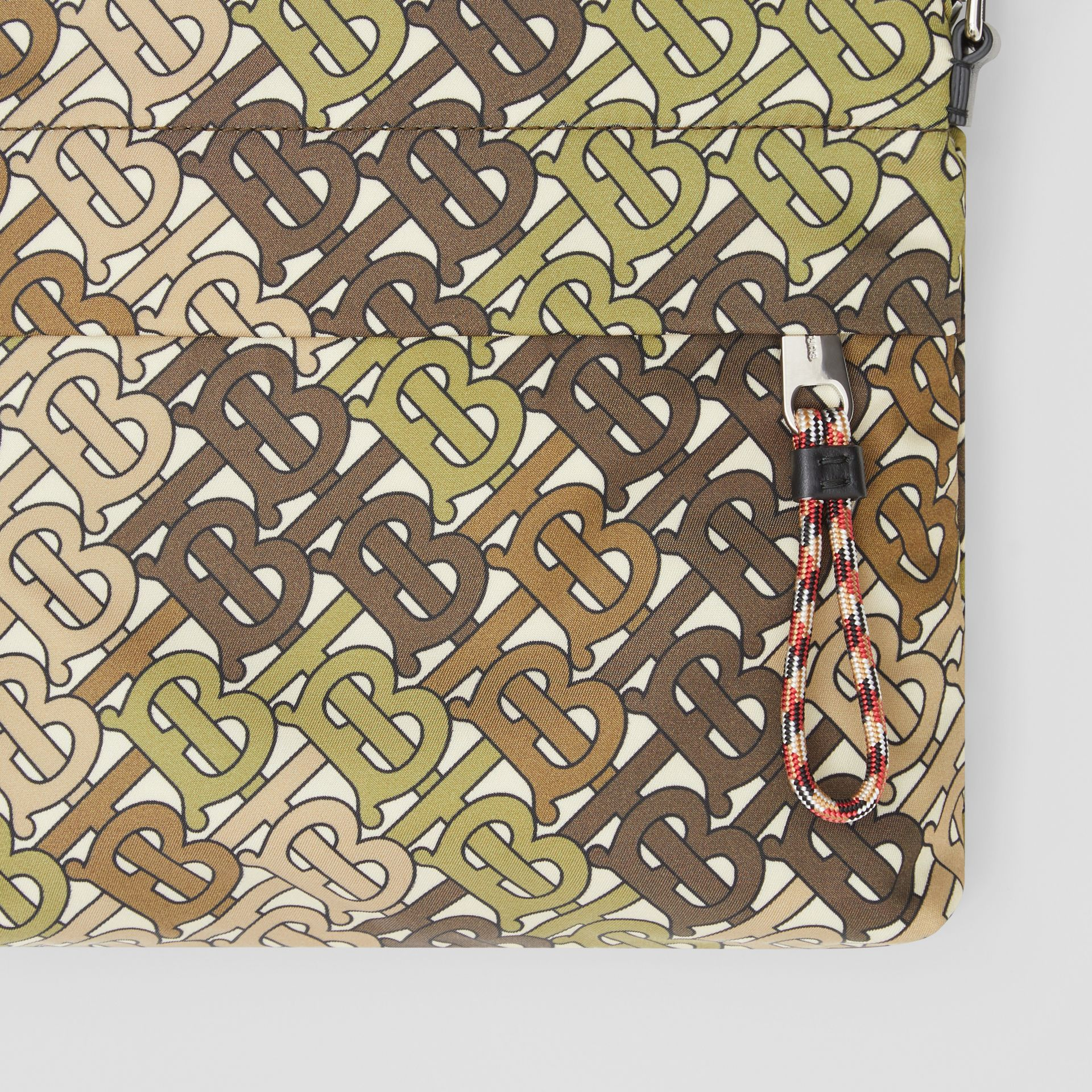 Monogram Print Nylon Crossbody Bag in Khaki Green - Men | Burberry - gallery image 1