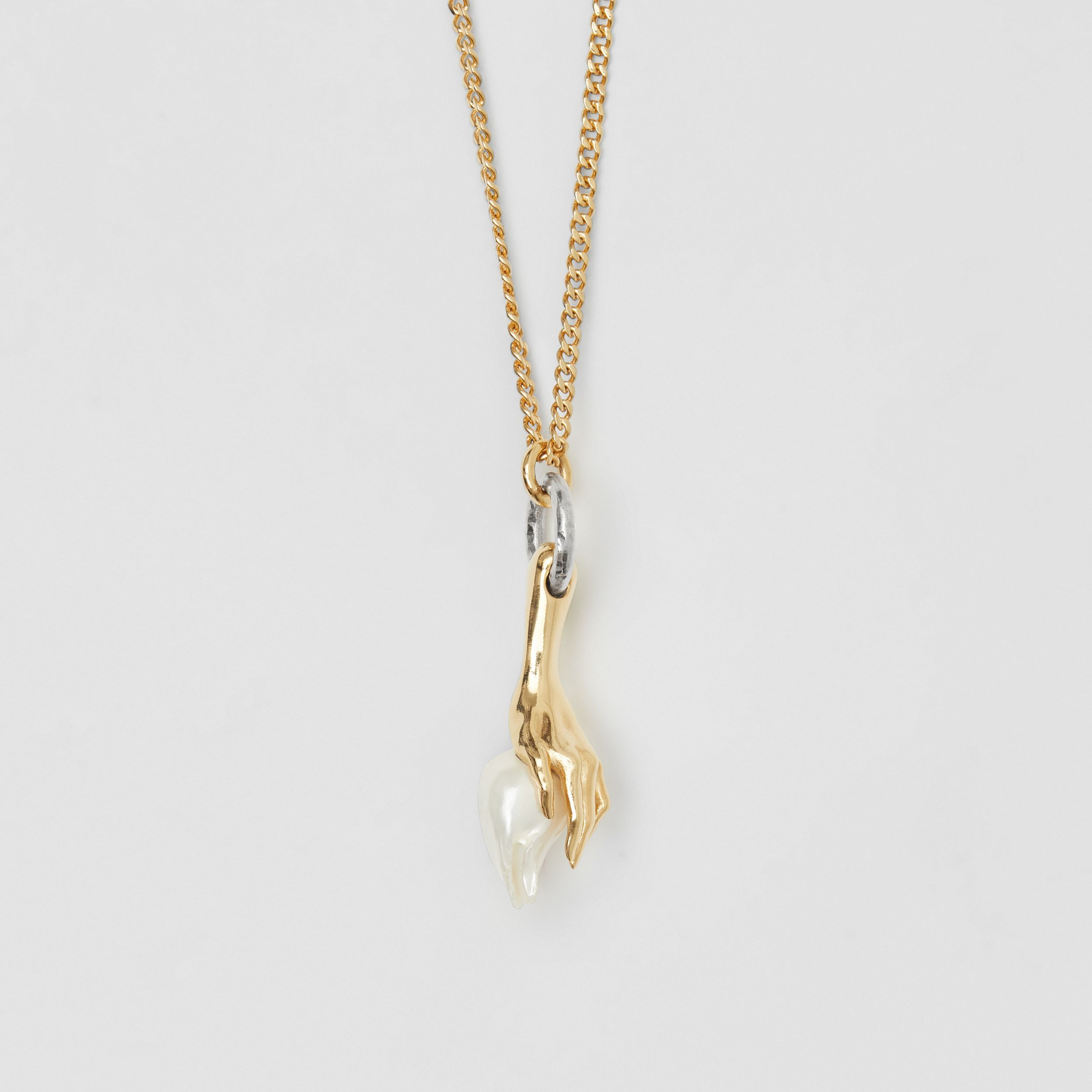 Resin Pearl Gold-plated Chain Necklace in Light - Women | Burberry - 4