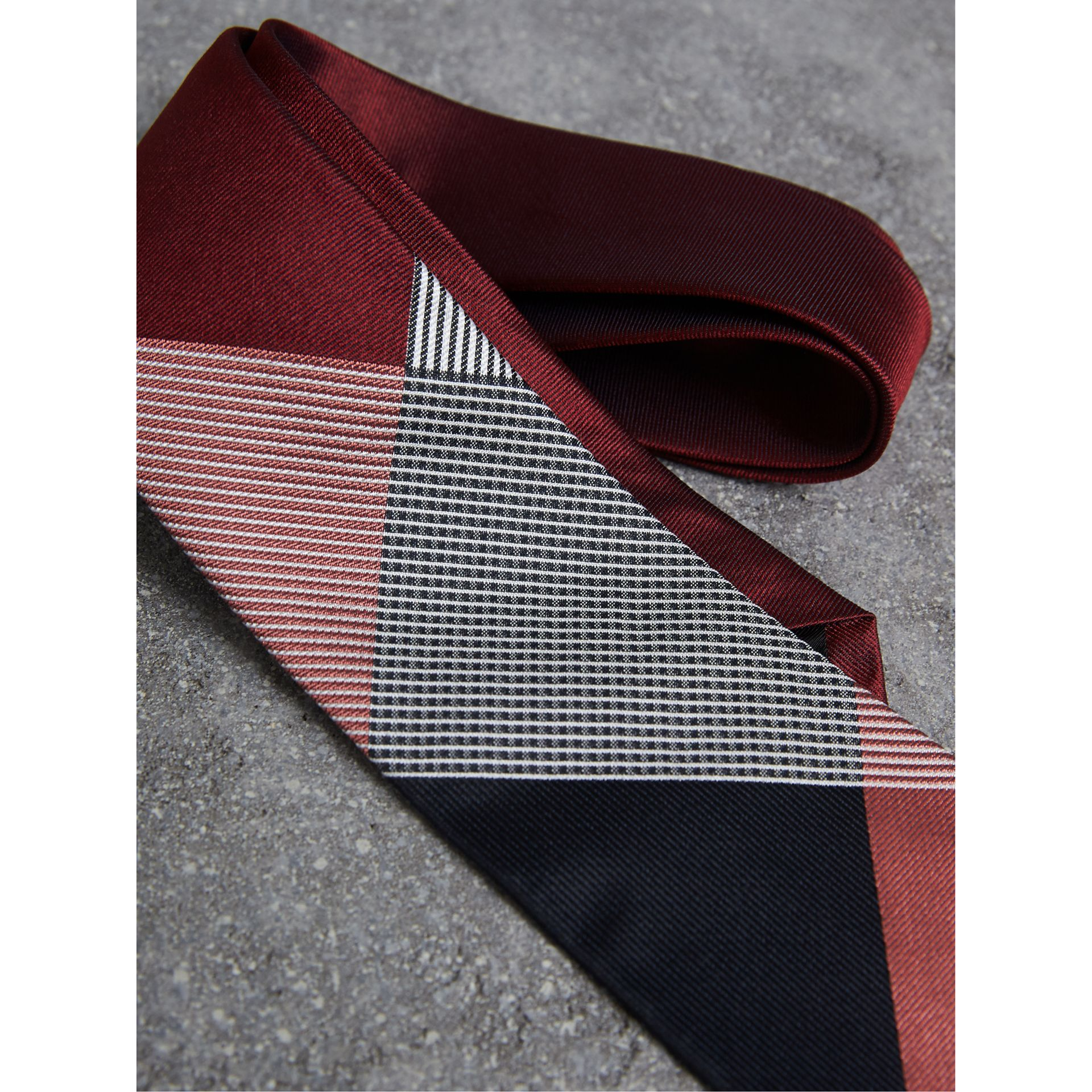 Modern Cut Check Silk Twill Jacquard Tie in Coral Red - Men | Burberry - gallery image 2