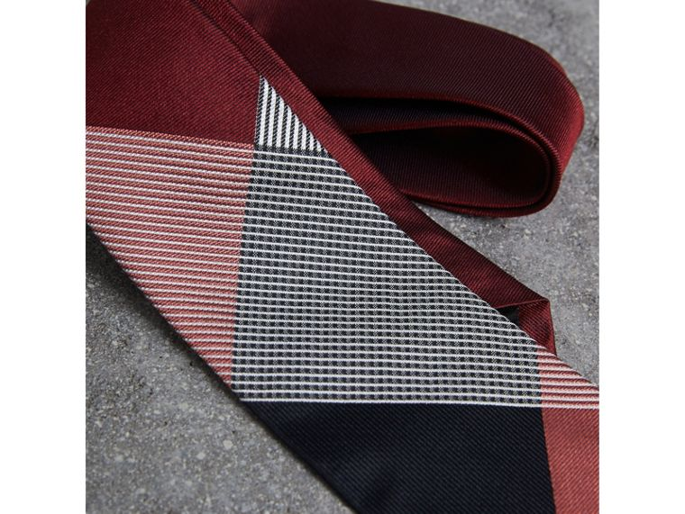 Modern Cut Check Silk Twill Jacquard Tie in Coral Red - Men | Burberry - cell image 1