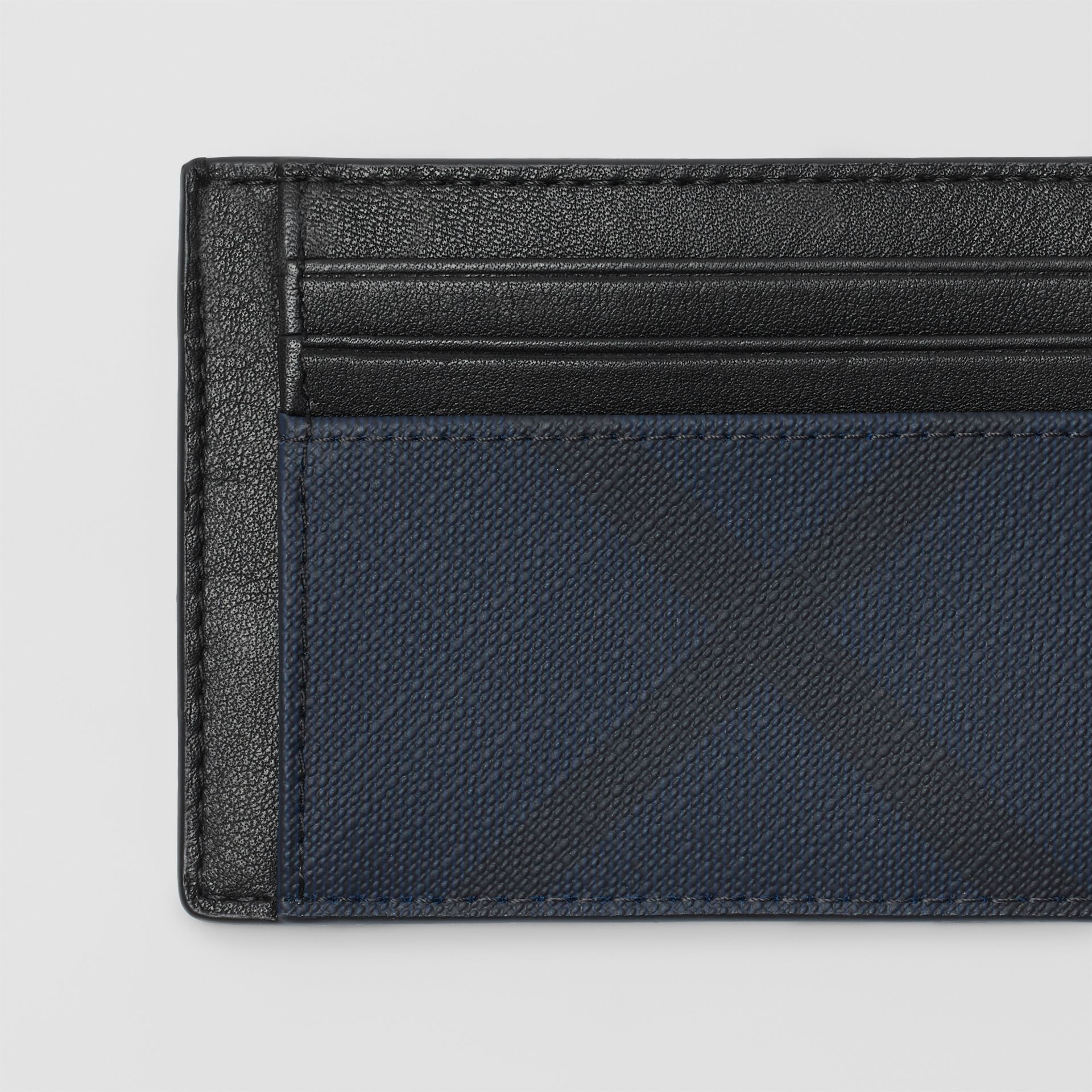 London Check and Leather Card Case in Navy/black - Men | Burberry - gallery image 1