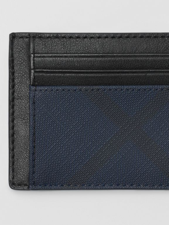 London Check and Leather Card Case in Navy/black - Men | Burberry - cell image 1