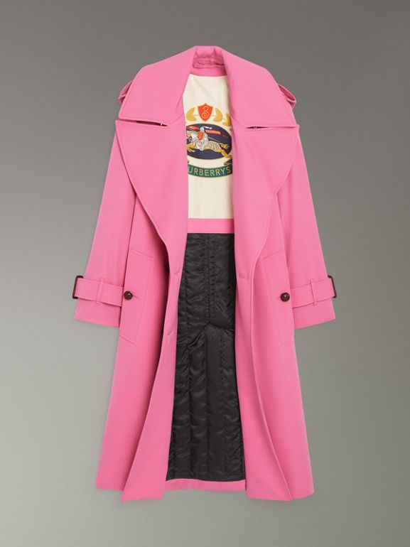 Oversized Lapel Wool Gabardine Trench Coat in Bright Pink - Women | Burberry - cell image 1