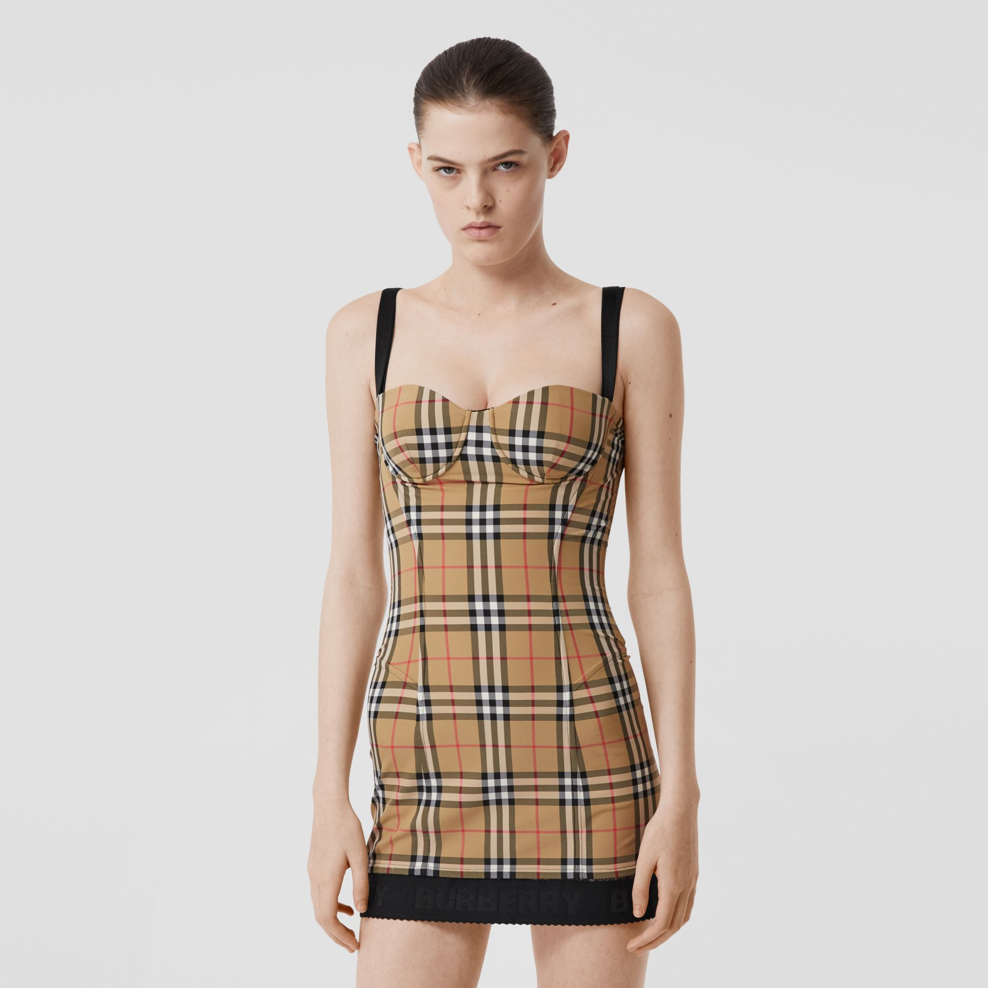 Vintage Check Stretch Jersey Corset Dress in Archive Beige - Women | Burberry United Kingdom - gallery image 0