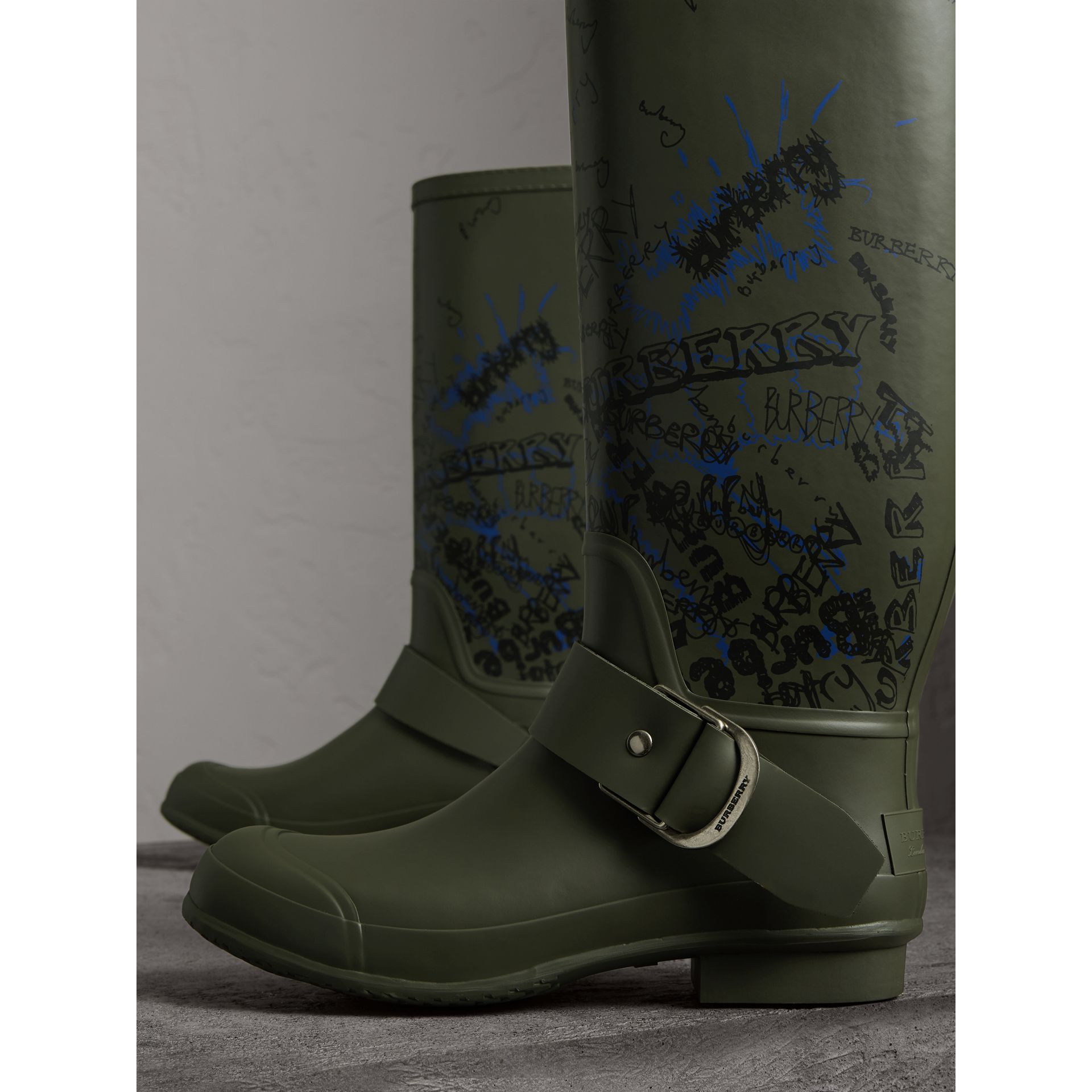 Doodle Print Rubber Rain Boots in Military Green - Men | Burberry - gallery image 4