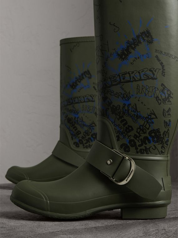 Doodle Print Rubber Rain Boots in Military Green - Men | Burberry United Kingdom - cell image 3