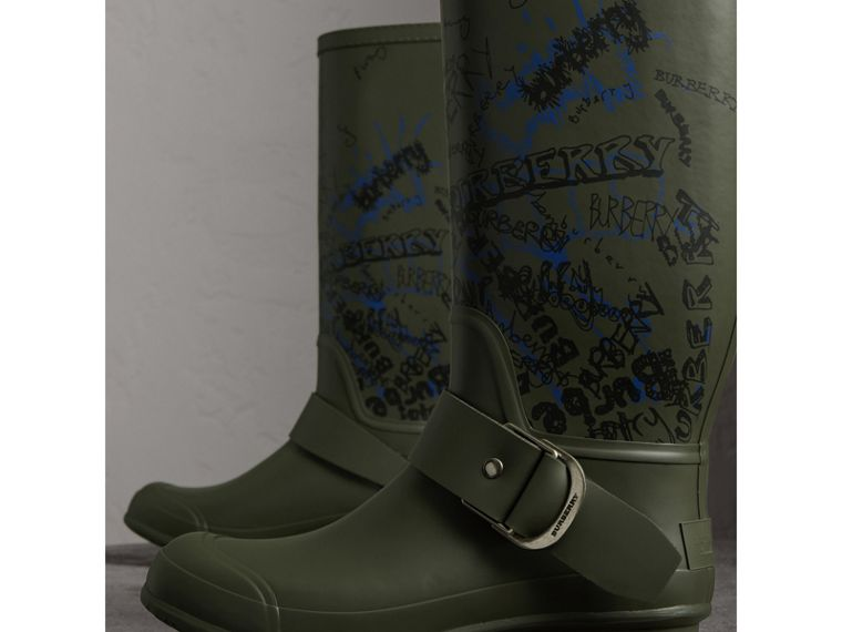 Doodle Print Rubber Rain Boots in Military Green - Men | Burberry - cell image 4