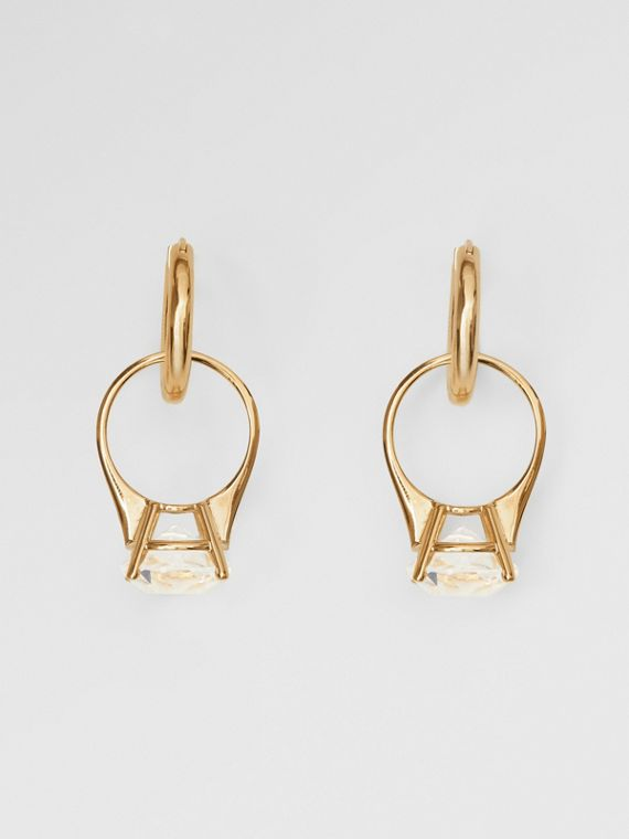 Crystal Ring Detail Gold-plated Hoop Earrings in Light Gold/crystal