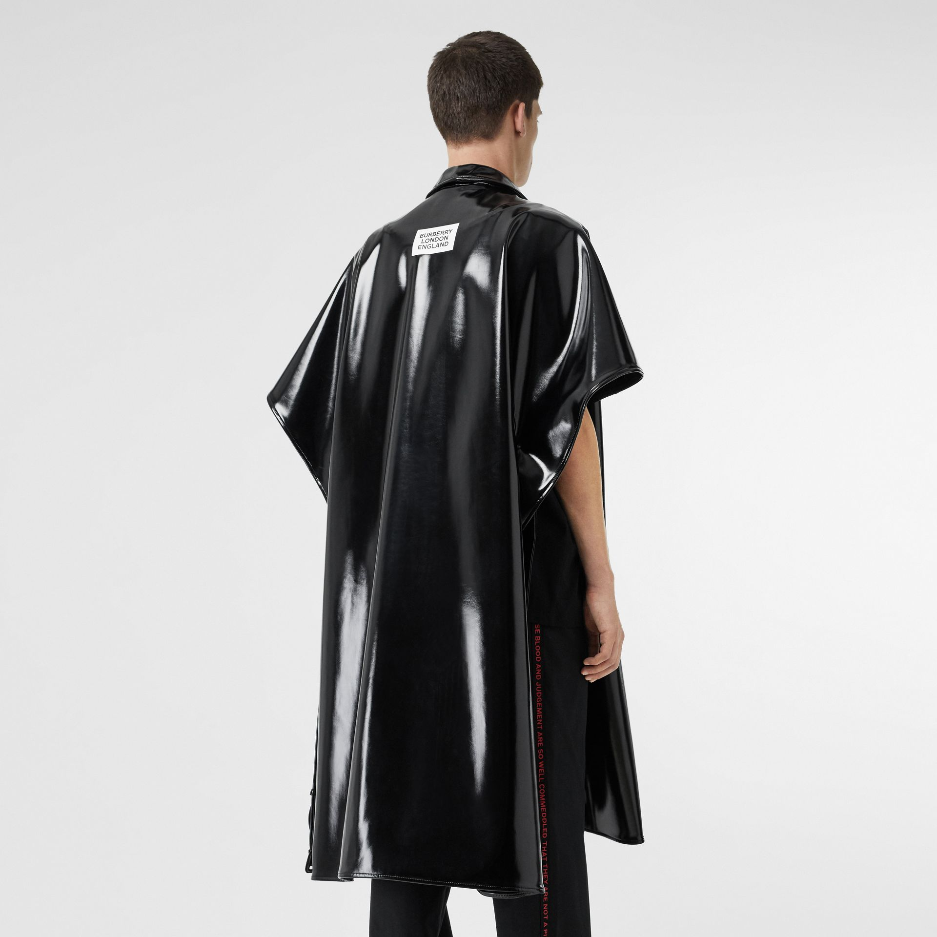 Vinyl Belted Cape in Black | Burberry Australia - gallery image 2