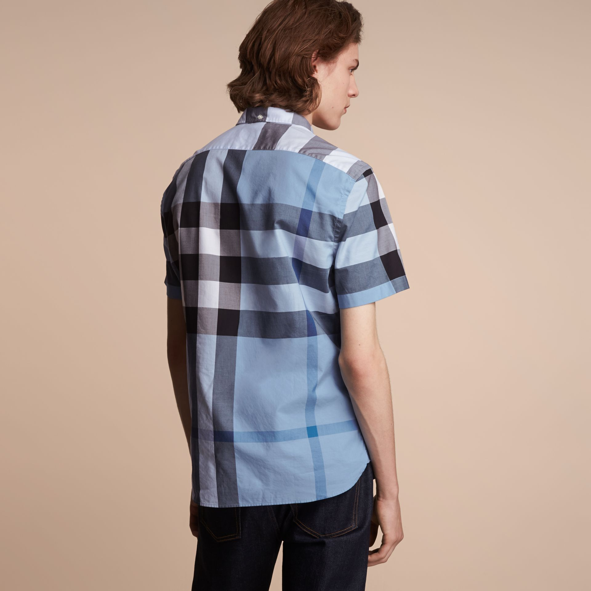 Button-down Collar Short-sleeve Check Cotton Shirt in Lupin Blue - gallery image 3