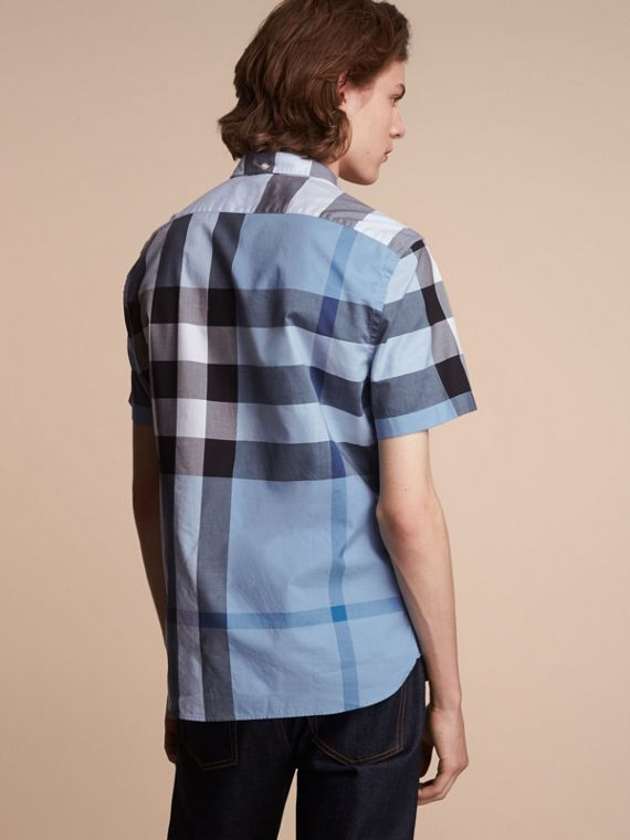 Button-down Collar Short-sleeve Check Cotton Shirt in Lupin Blue - cell image 2