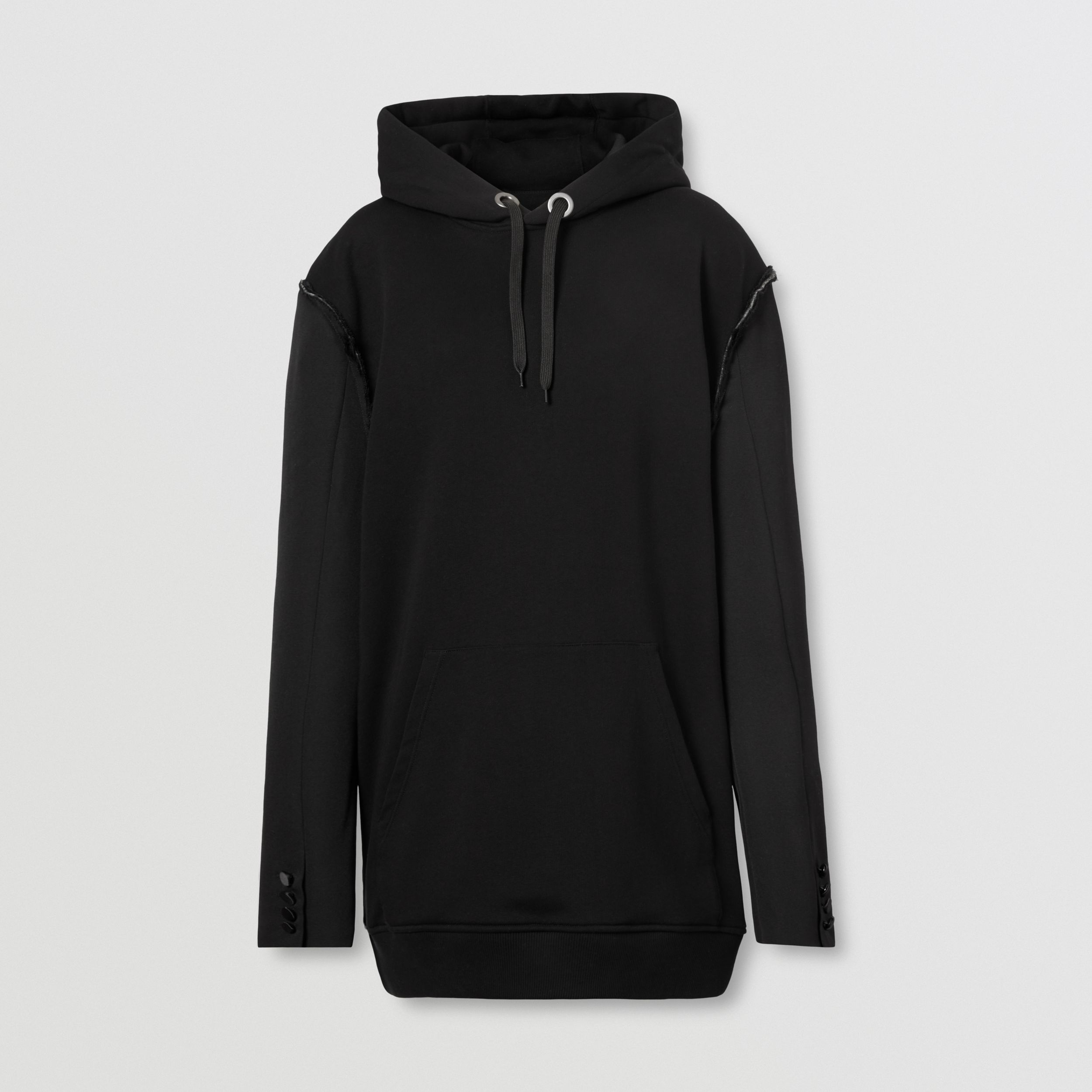 Cotton and Wool Reconstructed Oversized Hoodie in Black - Women | Burberry - 4