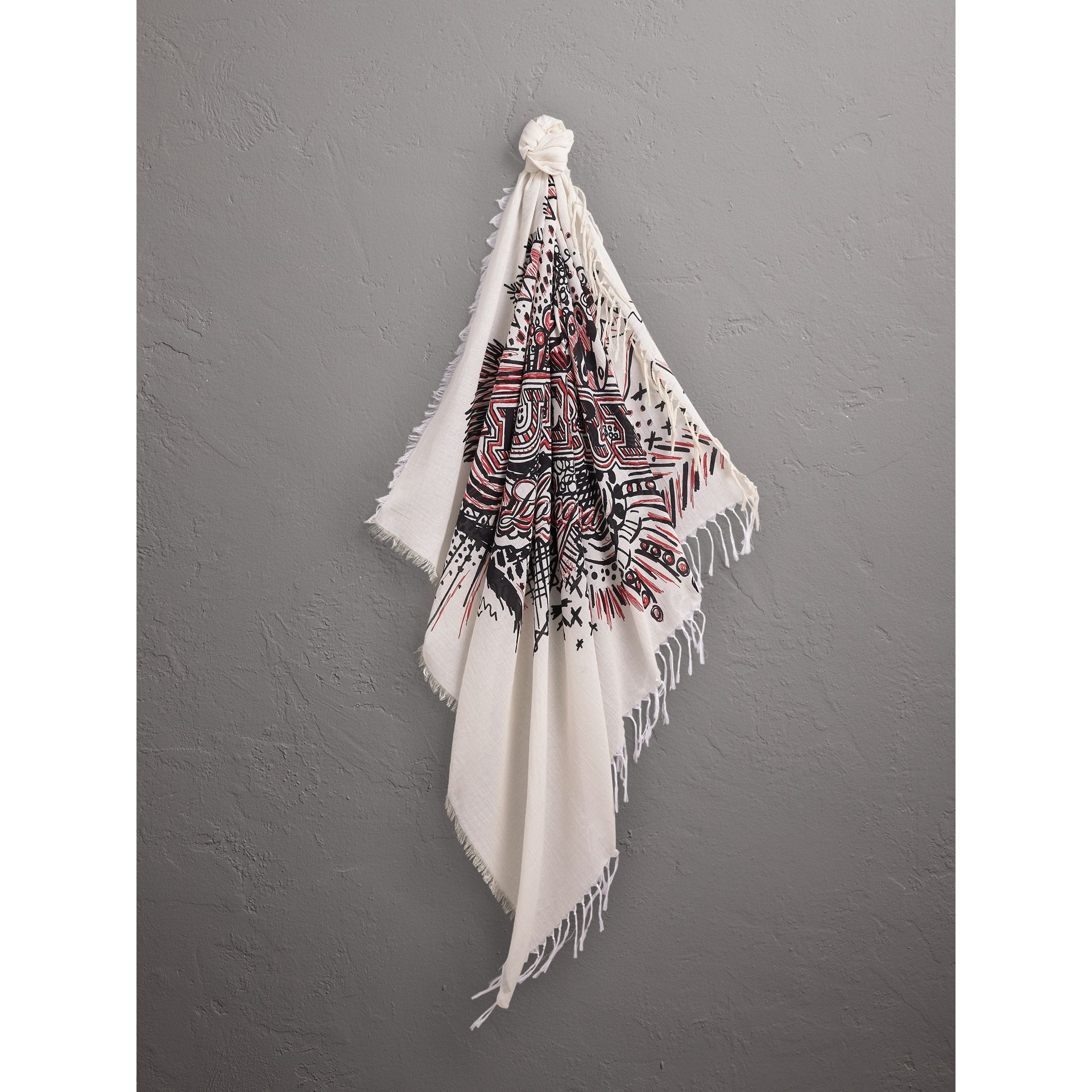 Doodle Print Silk Cotton Scarf in White/black | Burberry - gallery image 5