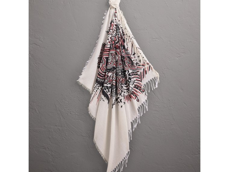 Doodle Print Silk Cotton Scarf in White/black | Burberry Hong Kong - cell image 4