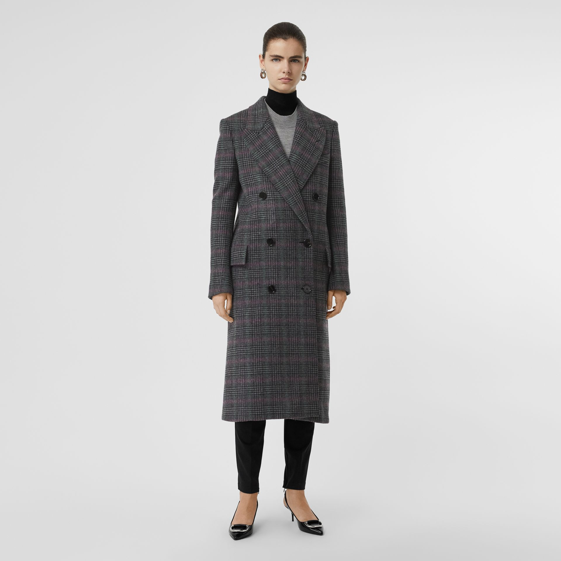 Prince of Wales Check Wool Tailored Coat in Charcoal - Women | Burberry United Kingdom - gallery image 5