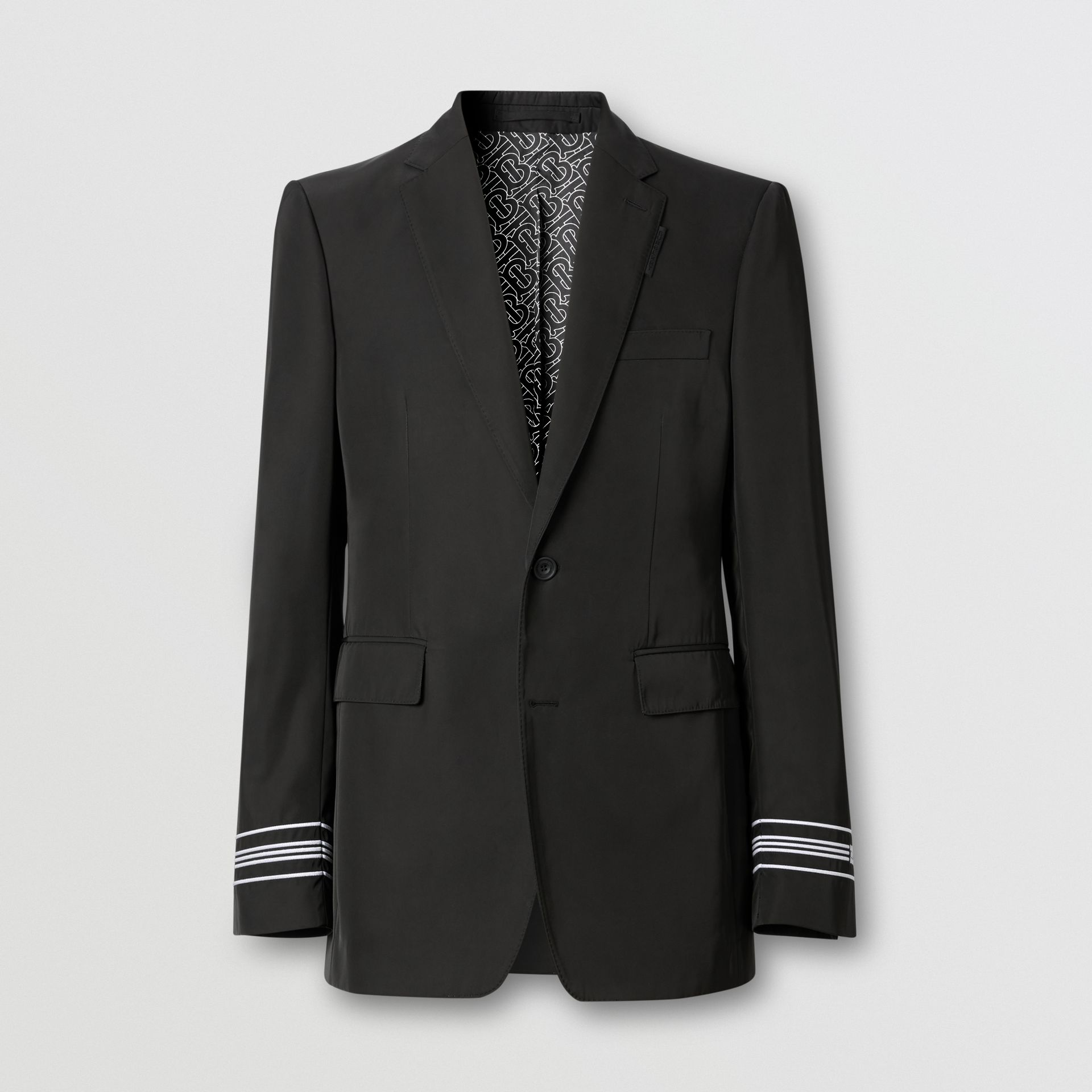 Classic Fit Stripe Detail Technical Twill Tailored Jacket in Black - Men | Burberry United Kingdom - gallery image 3
