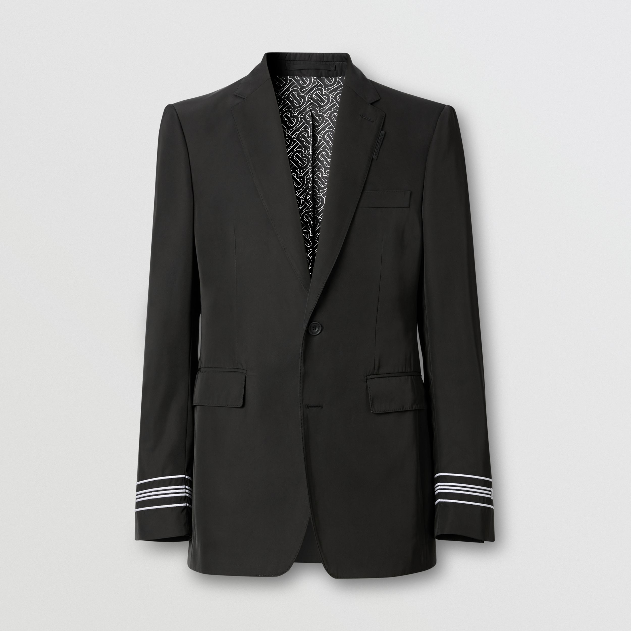 Classic Fit Stripe Detail Technical Twill Tailored Jacket in Black - Men | Burberry - 4