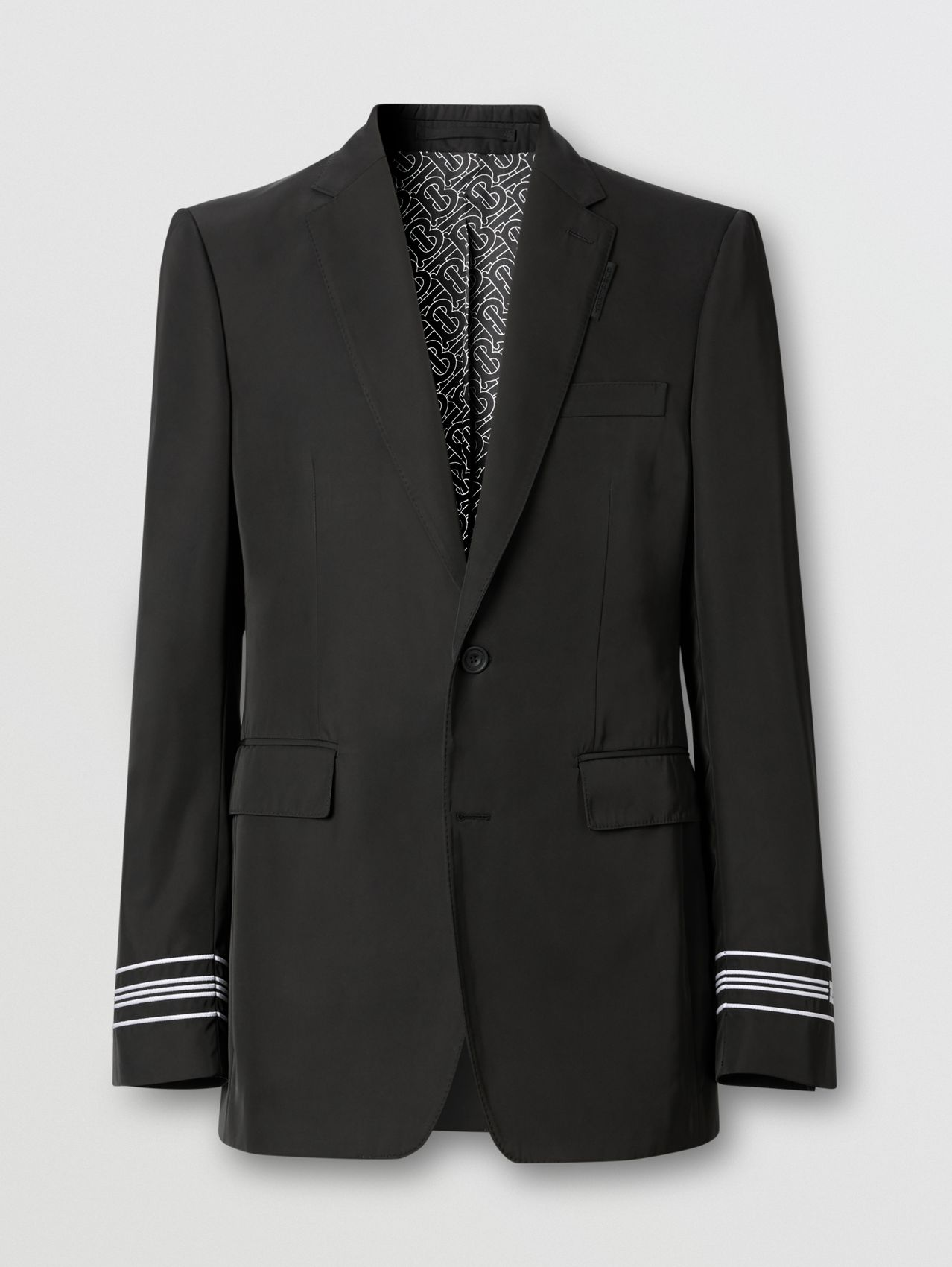 Classic Fit Stripe Detail Technical Twill Tailored Jacket in Black