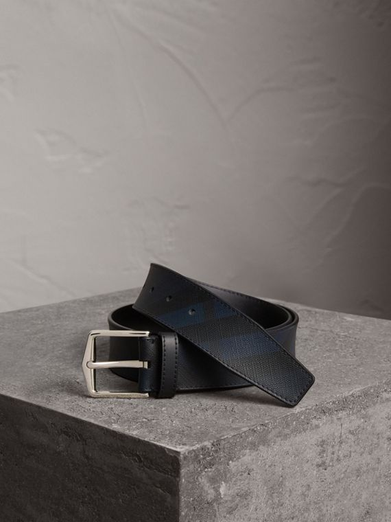 Leather Trim London Check Belt in Charcoal/black