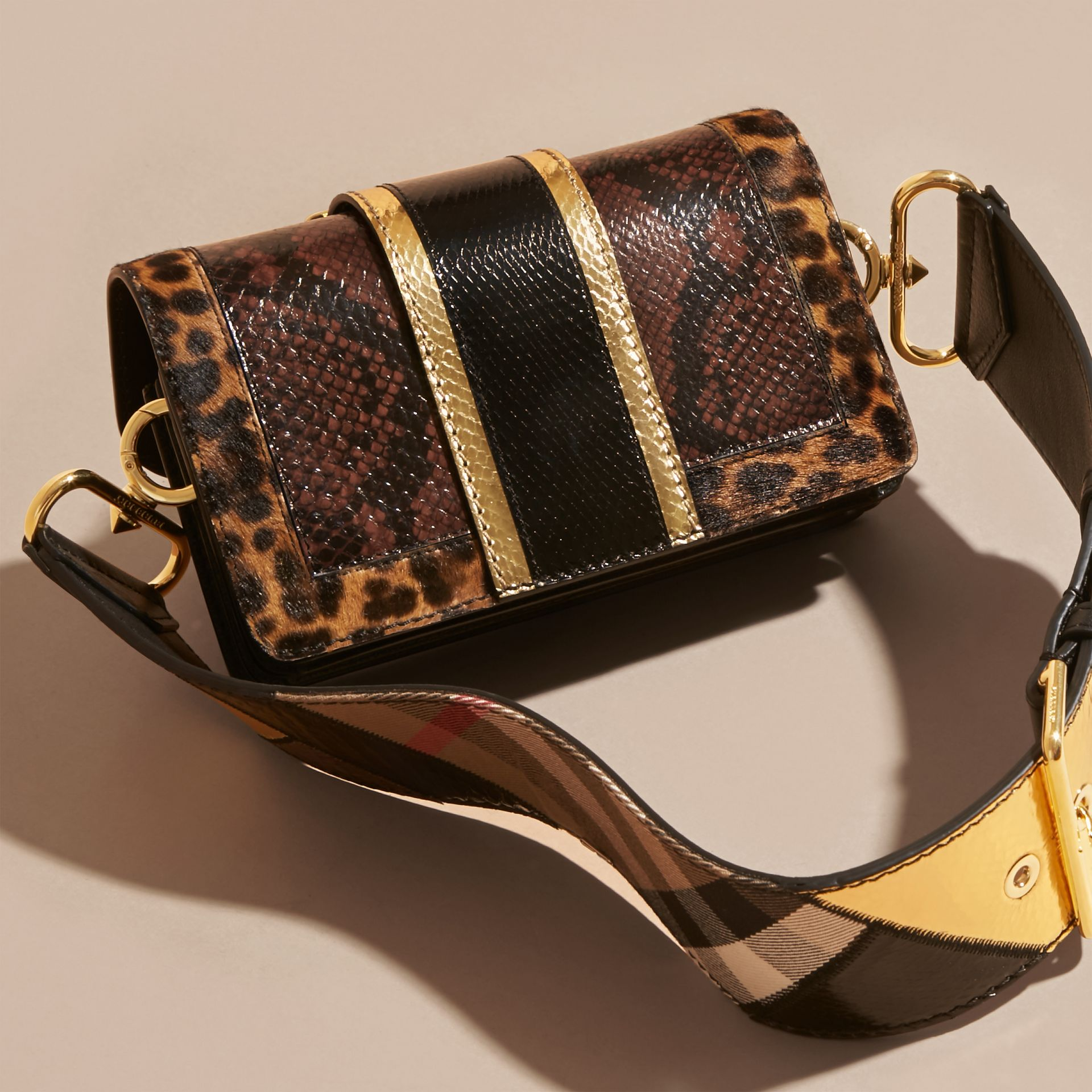 Black/gold The Patchwork in Snakeskin and Textured Leather - gallery image 5