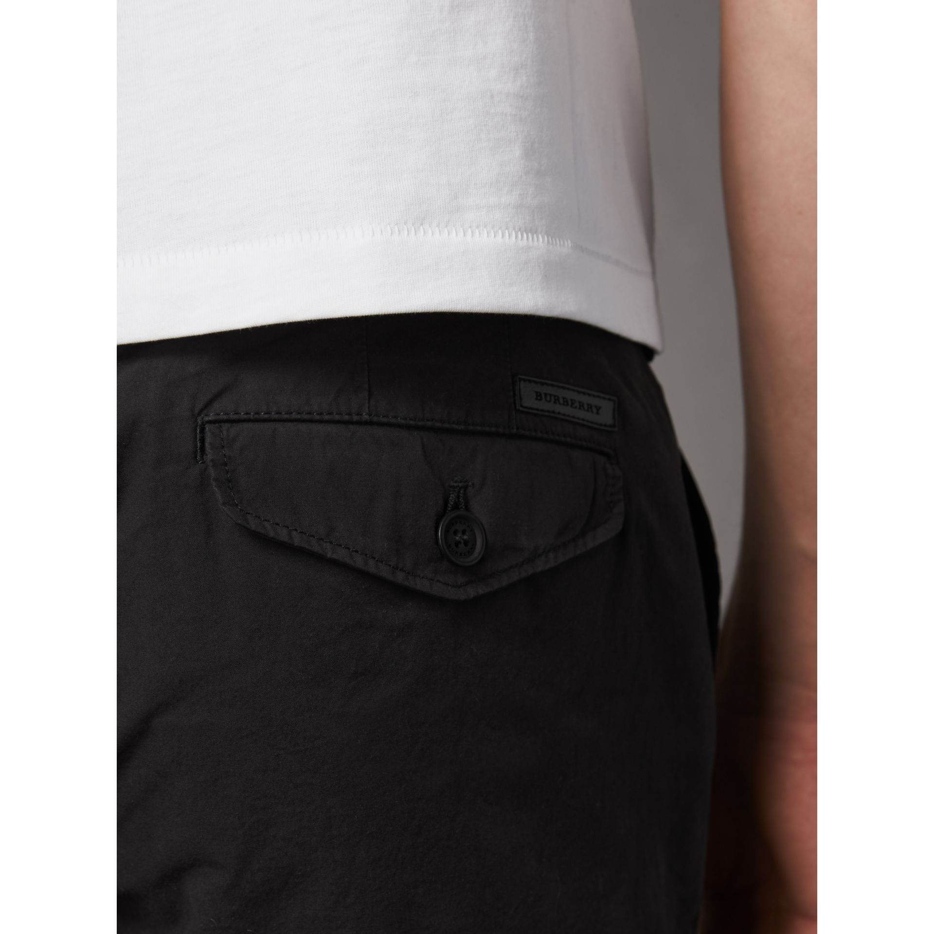 Slim Fit Cotton Poplin Chinos in Black - Men | Burberry Australia - gallery image 2