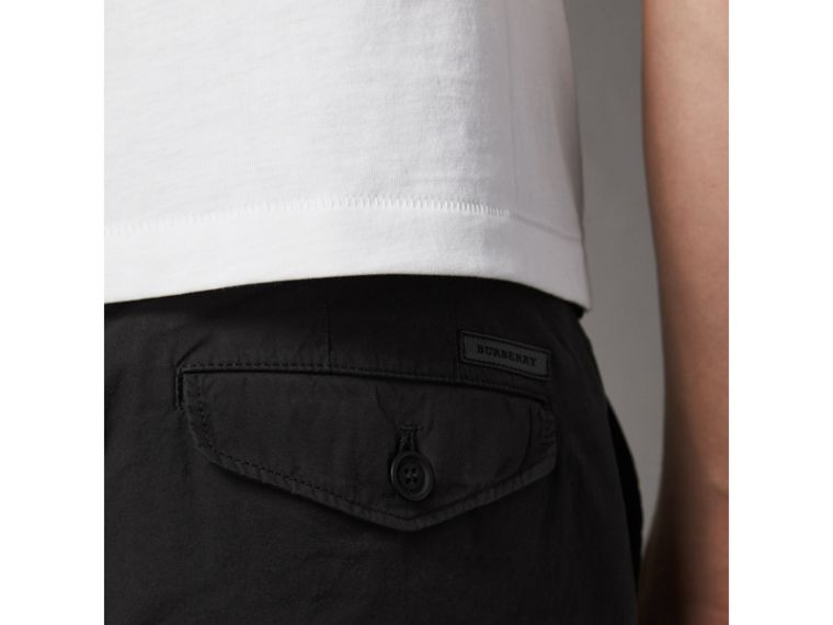 Slim Fit Cotton Poplin Chinos in Black - Men | Burberry Australia - cell image 1