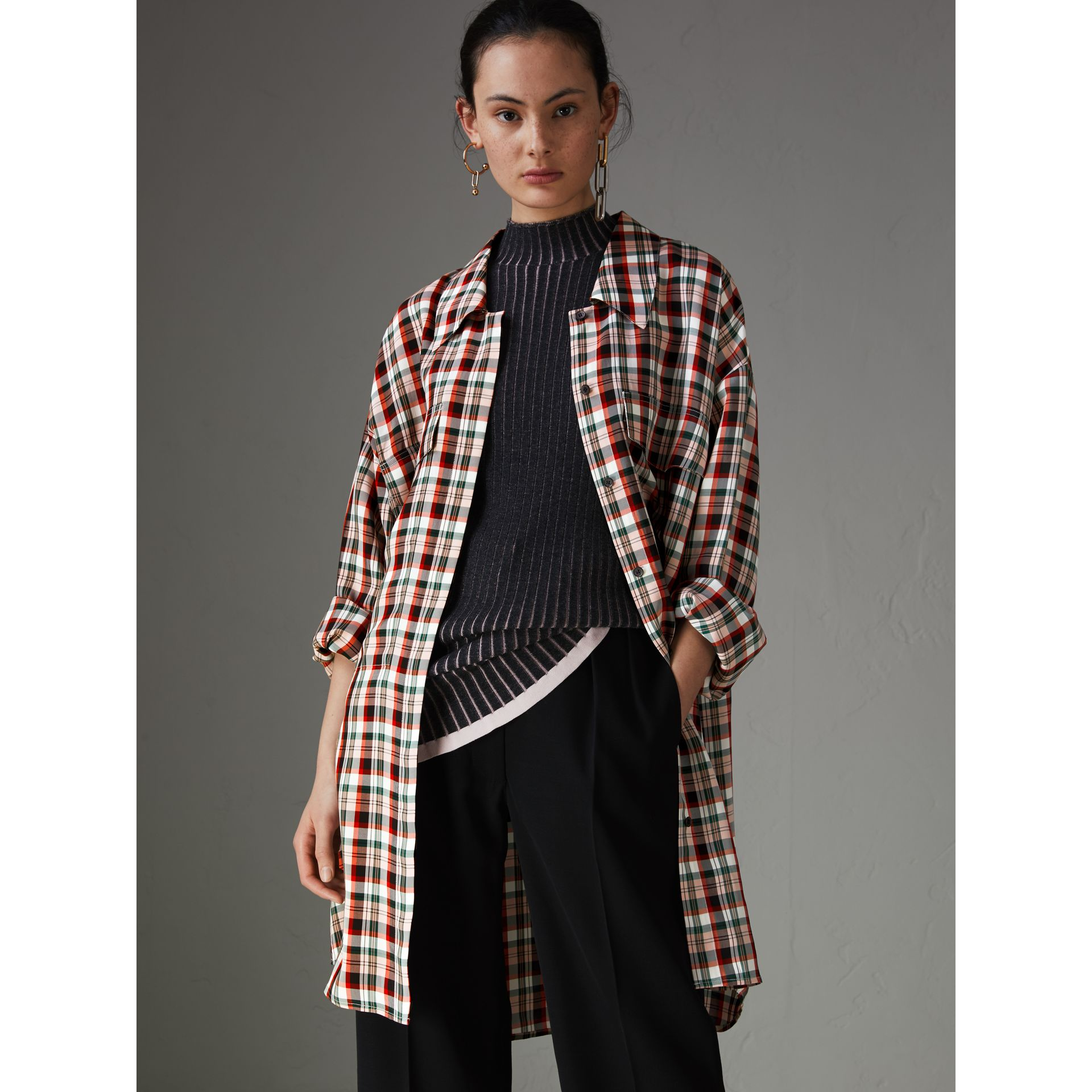 Small Scale Check Oversized Shirt in Bright Red - Women | Burberry Canada - gallery image 4