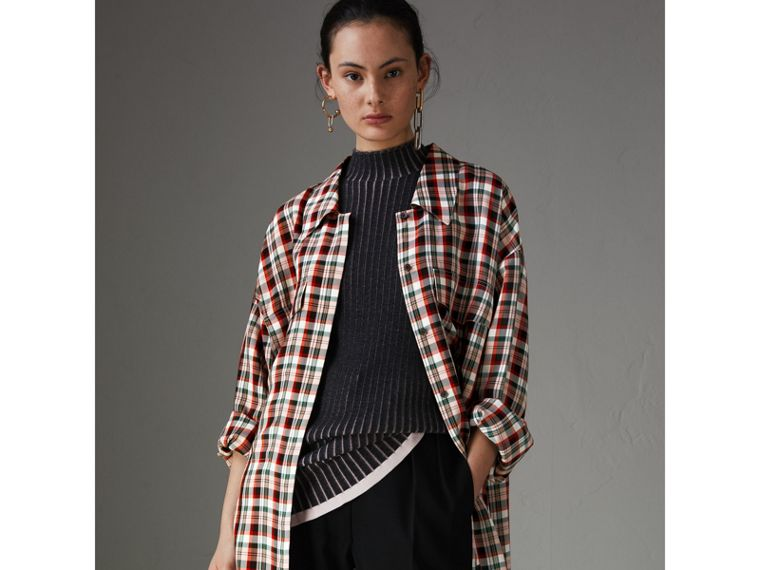Small Scale Check Oversized Shirt in Bright Red - Women | Burberry - cell image 4