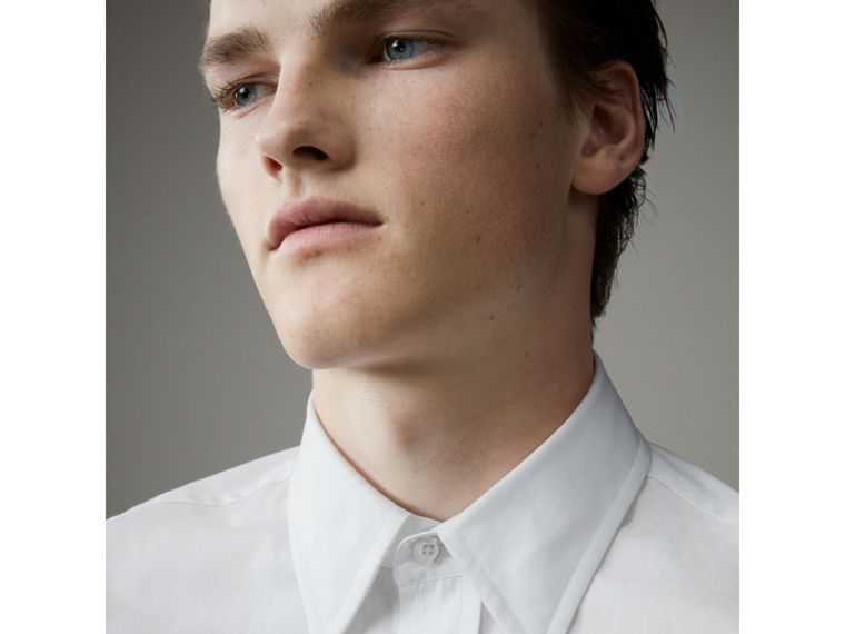 Worsted Cotton Poplin Evening Shirt in White - Men | Burberry United States - cell image 1
